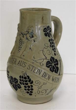German Salt Glazed Stoneware Pitcher