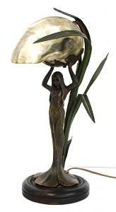 Art Nouveau Bronzed Figural Nautilus Lamp