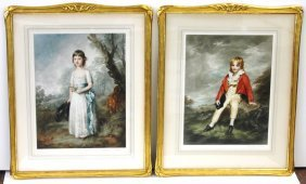 Pair Of Ornately Framed French Mezzotints
