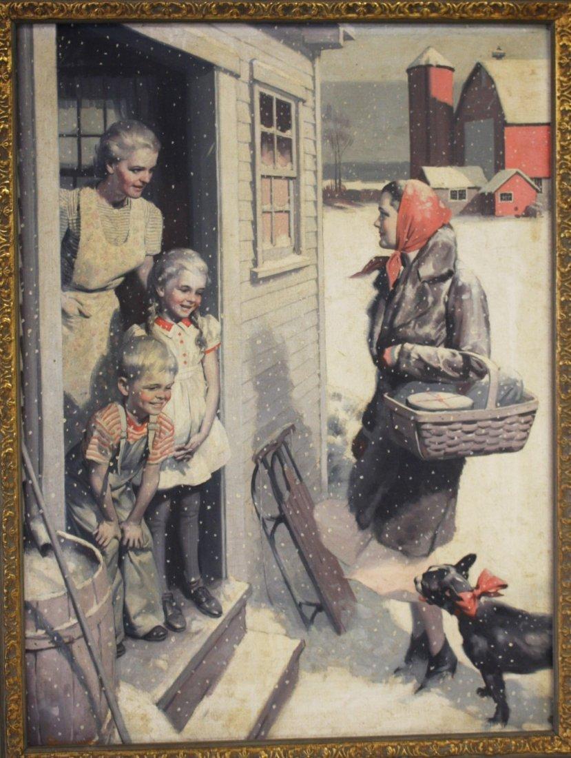 William Reusswig; American Oil Illustration Signed