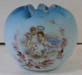 Victorian Enameled Satin Glass Rose Bowl