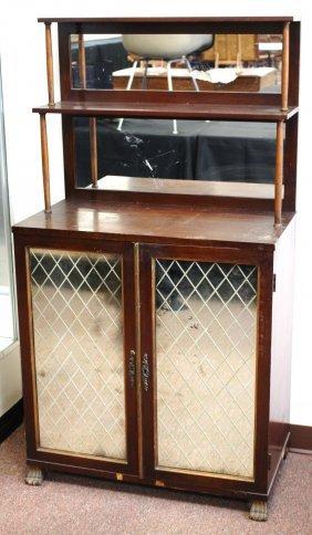 English Mahogany Mirrored Door Cabinet