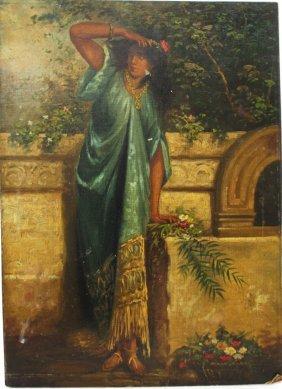 19thc. Continental School; Oil A Harem Girl
