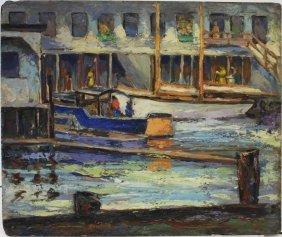 20thc. American Oil Boating Scene