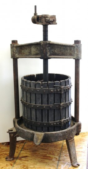 Large Early Wood And Iron Wine Press