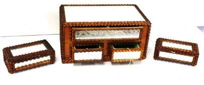 Three3 Piece Tramp Art Dresser Set