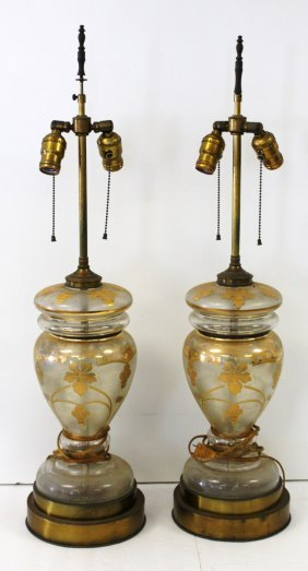 Pair Of Gilt Decorated Glass Table Lamps