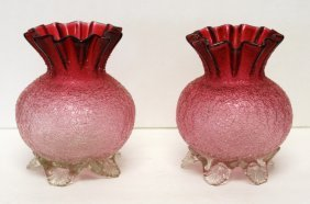 Pair Of Victorian Crackle Glass Vases