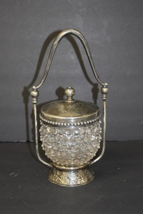 Victorian Hobnail Glass And Silverplate Condiment Jar