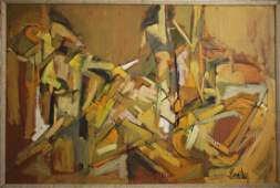 Charles Domsky; 20thC. Modernist Oil Painting Signed