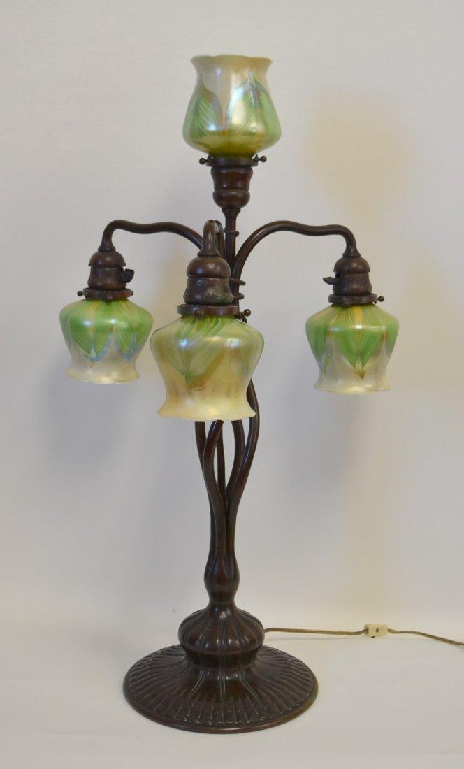 Tiffany Studios Bronze Four(4) Light Table Lamp