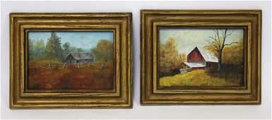 Pair of 20thC Americal Oil Paintings