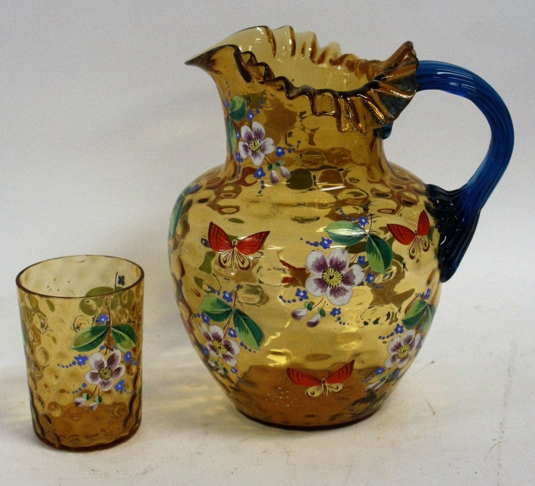 Victorian Enameled Glass Pitcher and Glass