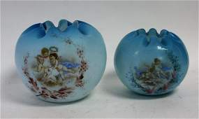 Two2 Victorian Enameled Glass Rose Bowls