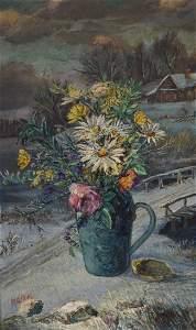 David Burliuk; 20thC. American Oil Painting Signed