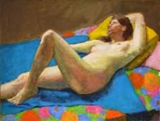 Joy Divine; 20thC. American Oil - Reclining Nude