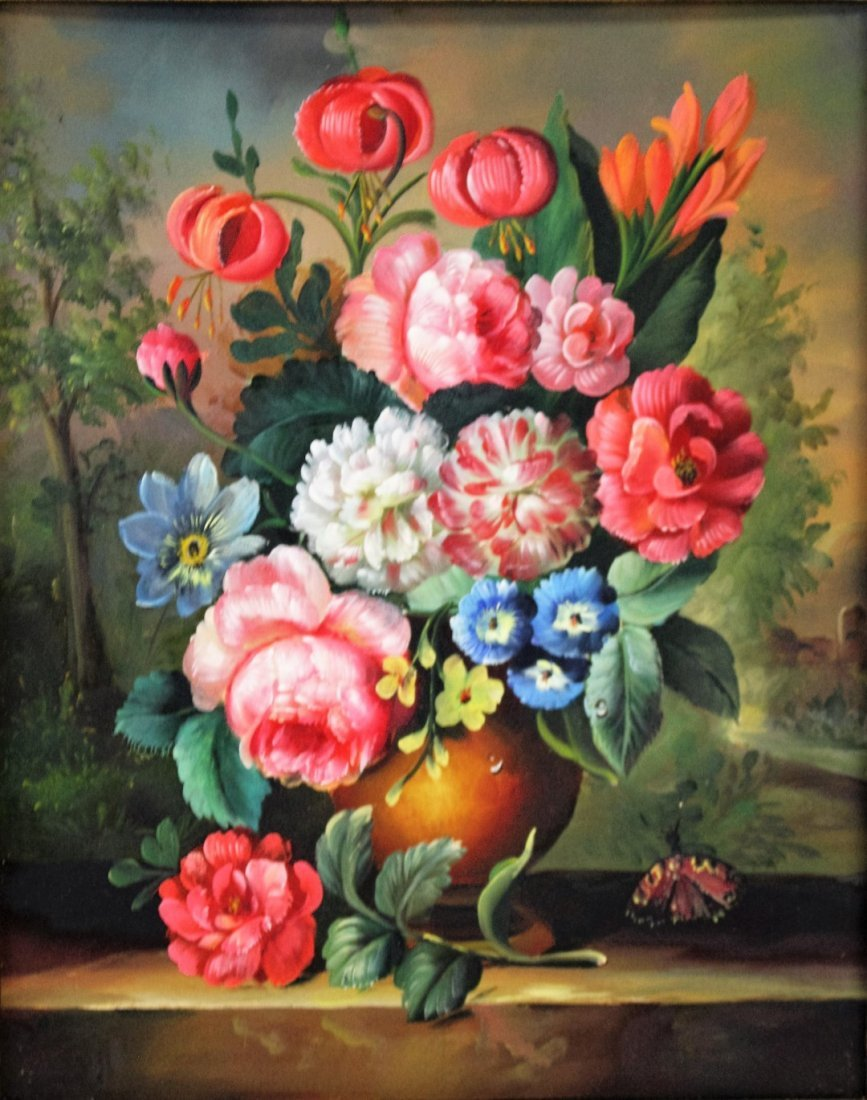 20th C. Flemish Floral Oil Painting