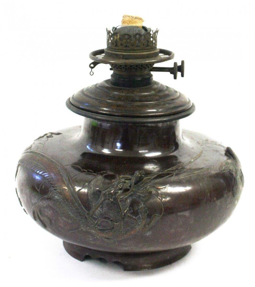 19thC. Japanese Bronze Oil Lamp