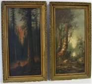 American School; Pair of Oil Paintings