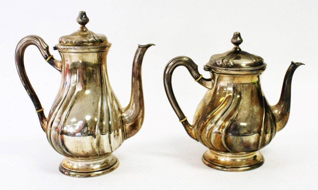 Two (2) 800 Silver Tea Pots