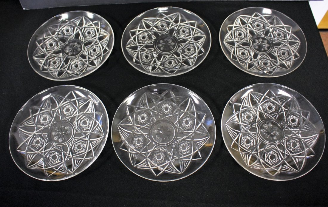 Six(6) Baccarat Crystal Dessert Plates
