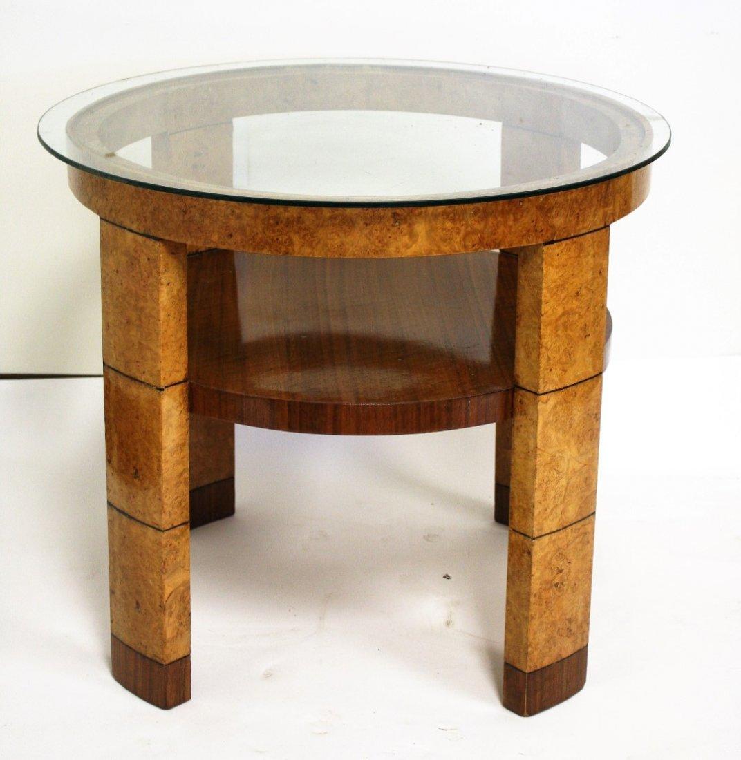 French Art  Deco Burlwood Round Stand