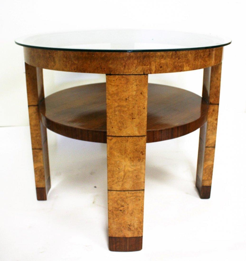 French Art  Deco Burlwood Round Stand - 4