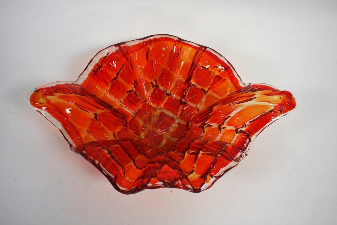 Mid Century Squares Pattern Orange Dish - 2