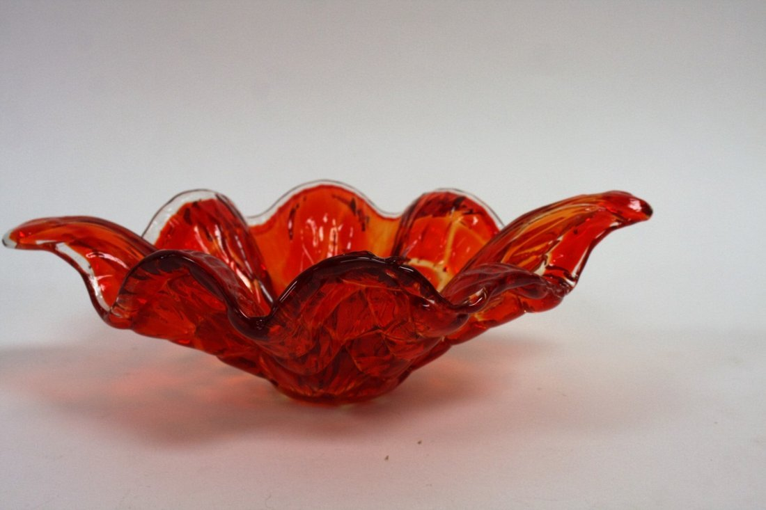 Mid Century Squares Pattern Orange Dish - 3