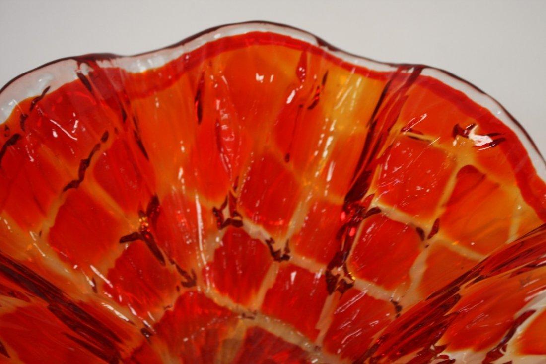 Mid Century Squares Pattern Orange Dish - 4