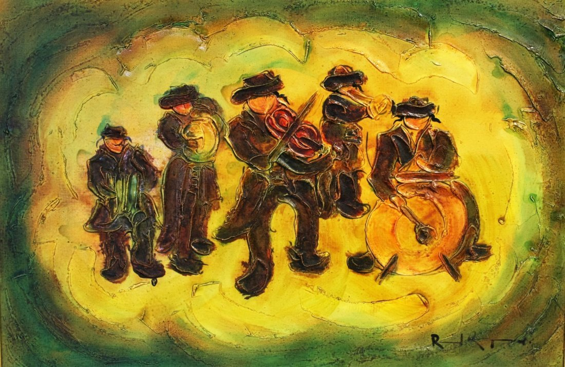 Judaica Band Musicians Painting, Signed