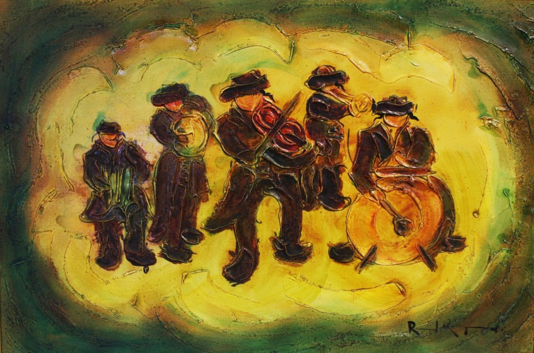 Judaica Band Musicians Painting, Signed - 2