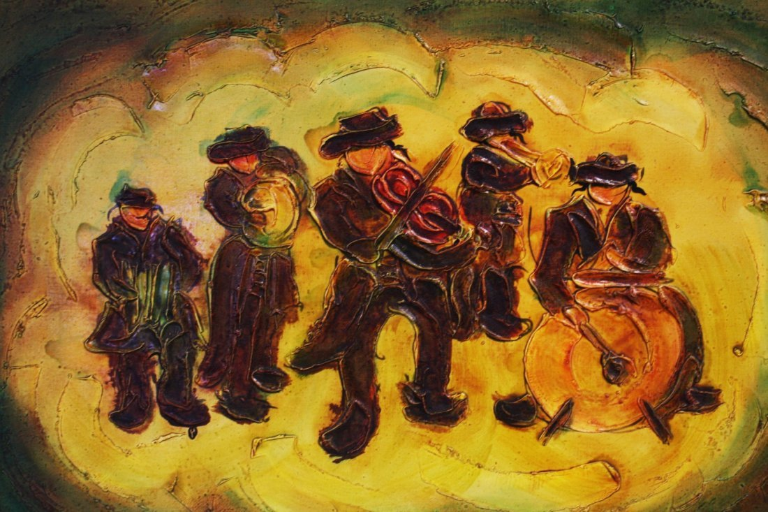 Judaica Band Musicians Painting, Signed - 3