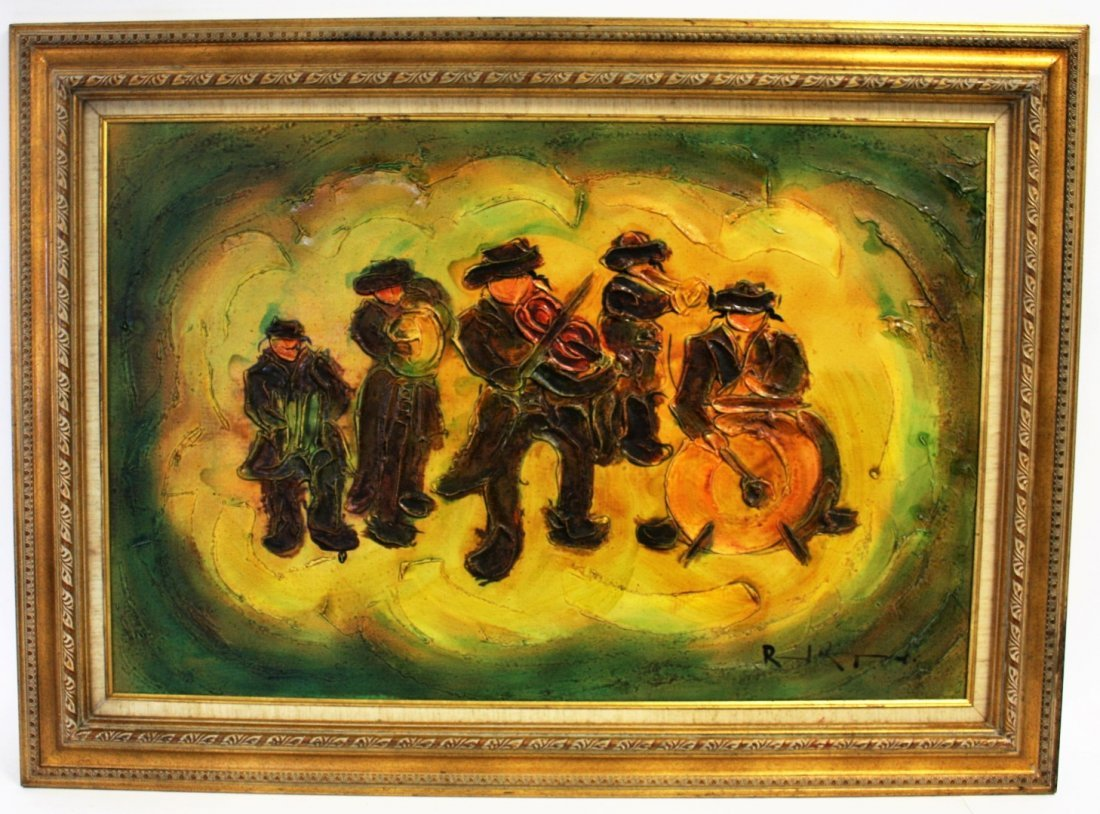 Judaica Band Musicians Painting, Signed - 5