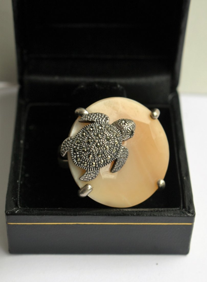 .925 Sterling Turtle Ring With Marcasites - 2