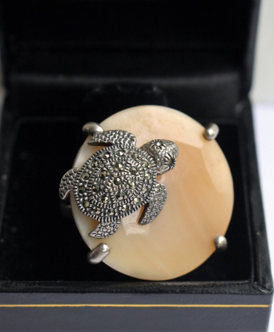 .925 Sterling Turtle Ring With Marcasites - 3