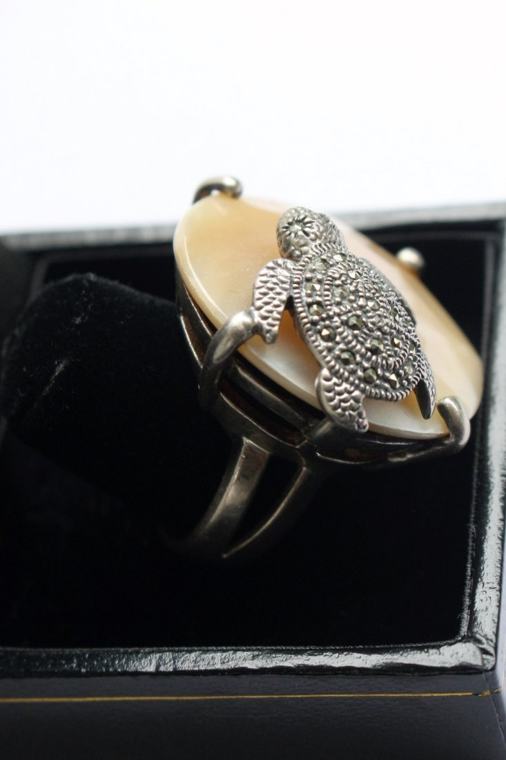 .925 Sterling Turtle Ring With Marcasites - 4