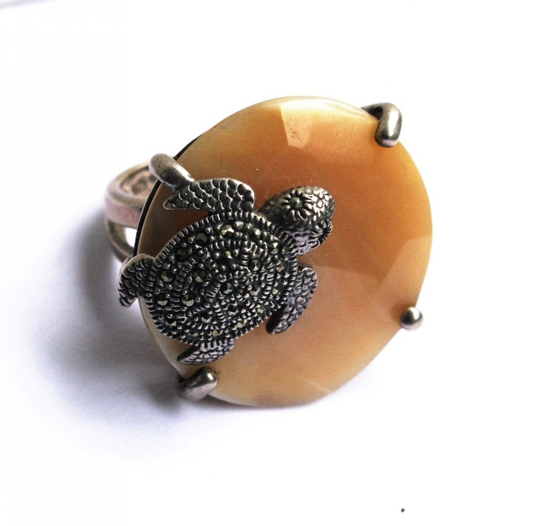 .925 Sterling Turtle Ring With Marcasites - 5