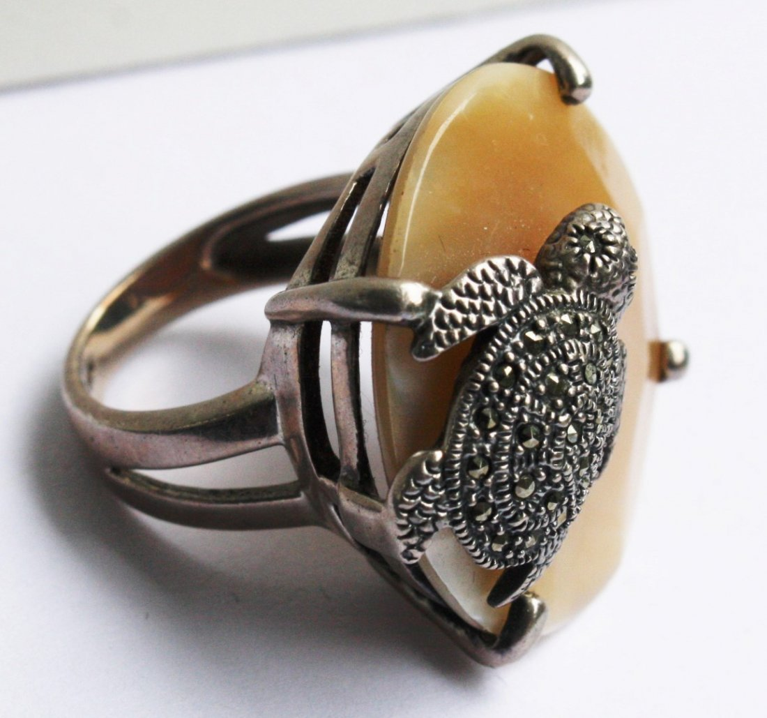 .925 Sterling Turtle Ring With Marcasites - 6