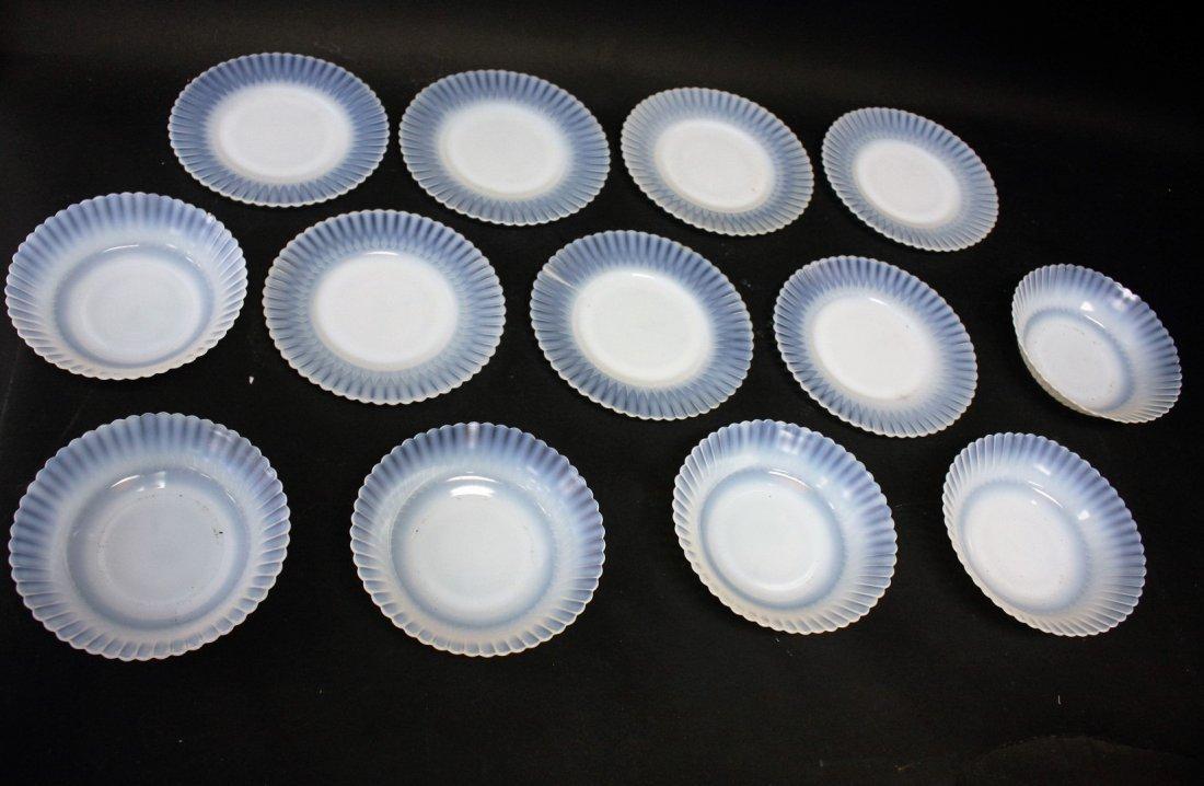 Thirteen [13] Opalescent Glass Plates, Bowls