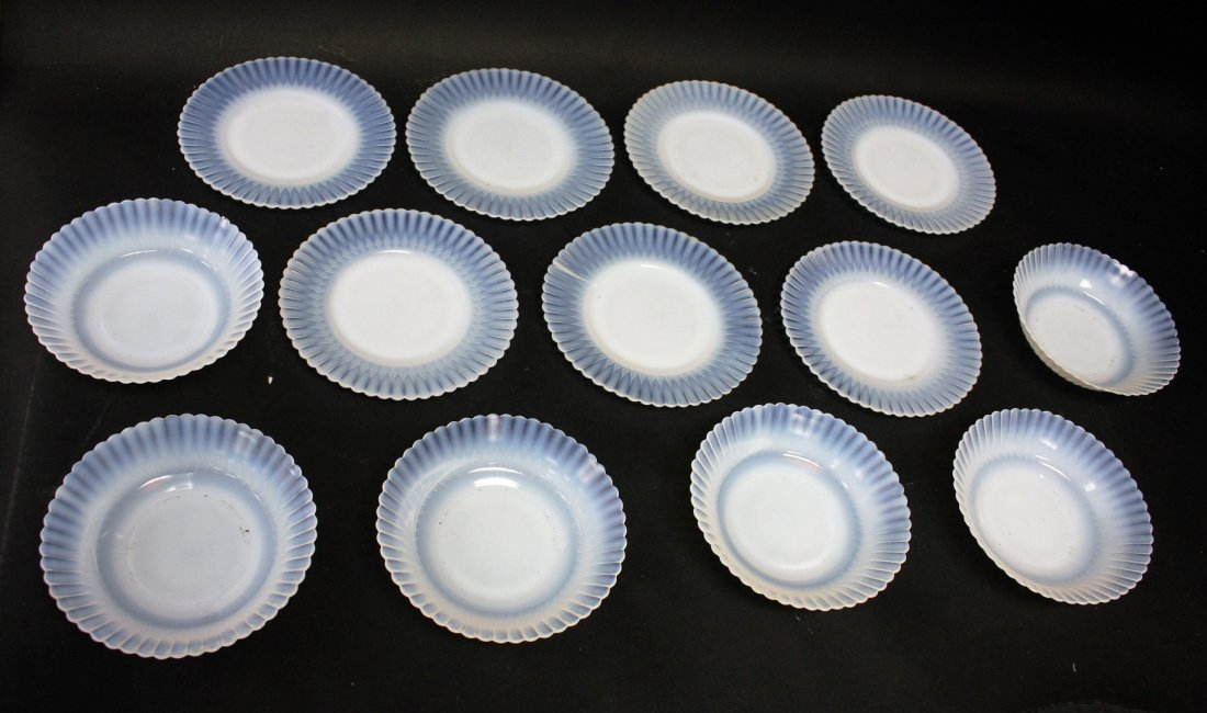 Thirteen [13] Opalescent Glass Plates, Bowls - 2