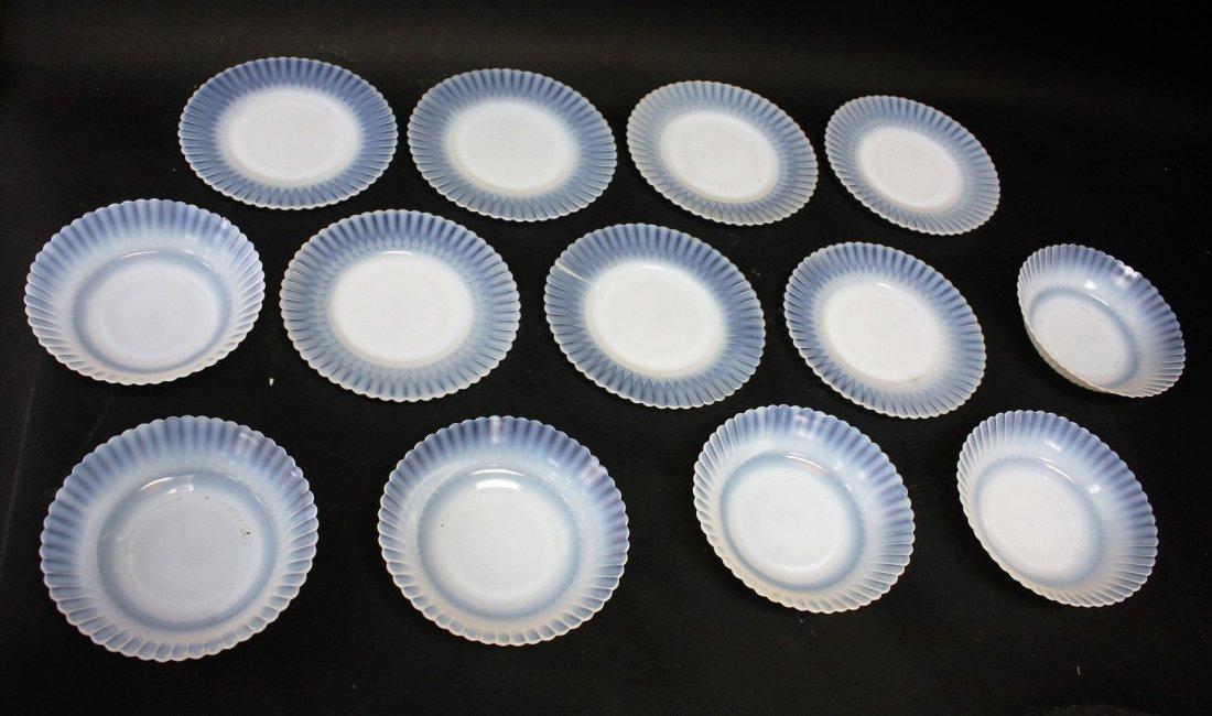 Thirteen [13] Opalescent Glass Plates, Bowls - 2