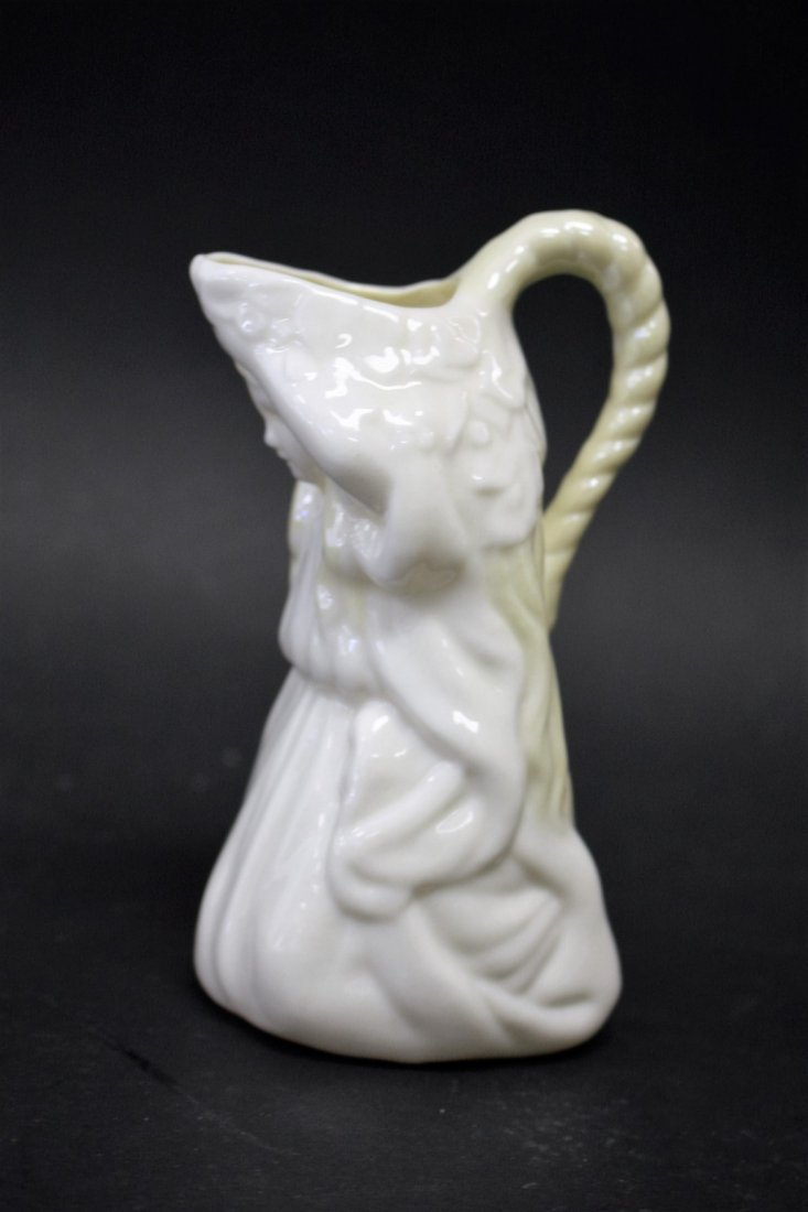 Unusual Belleek Figural Girl Cream Pitcher - 5