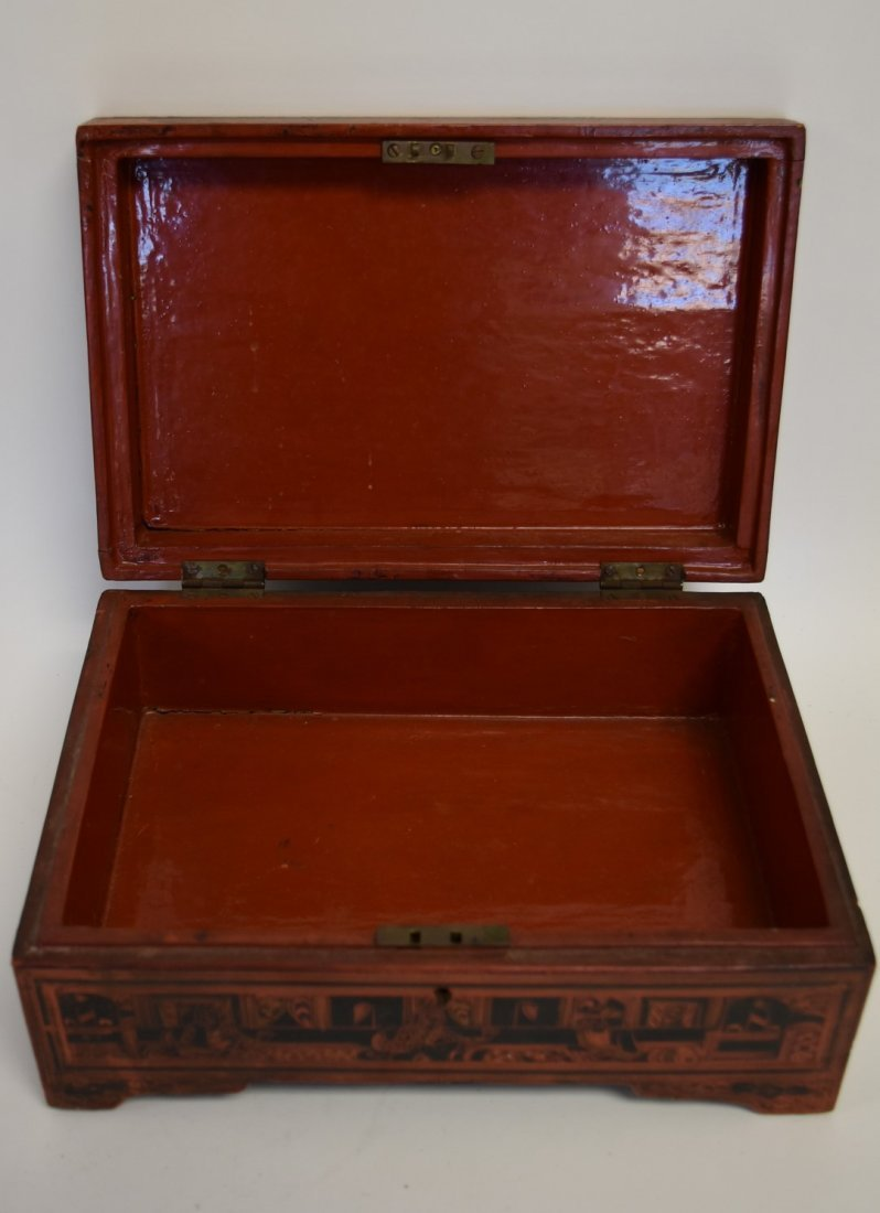 19thC. Oriental Lacquered and Incised Wood Box - 4