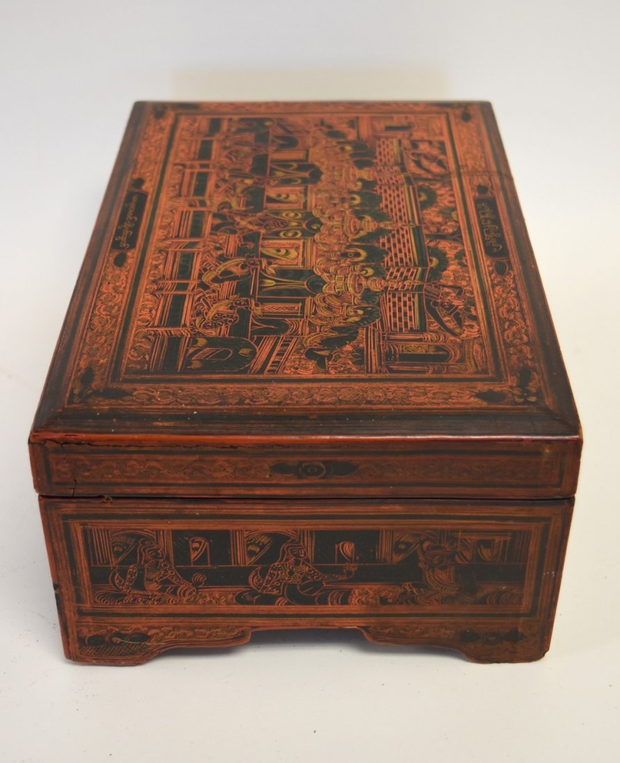 19thC. Oriental Lacquered and Incised Wood Box - 5