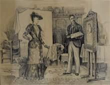 Walter M Dunk 19thC American Ink Illustration Signed