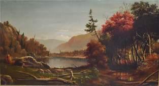 19thC. American School; Oil - Catskill Mountain Lake