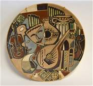 20thC Russian Modernist Enameled Pottery Charger
