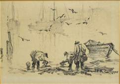 Emile Gruppe; American Charcoal Drawing Signed