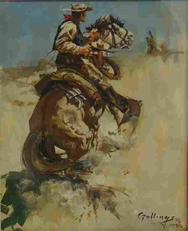 William Gollings; American Western Gouache Signed